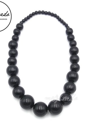 Large Black Chunky Wooden Necklace.
