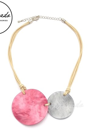 Short Pink Grey Resin Bead Necklace