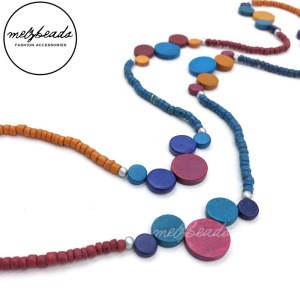 Multi Bead Coin Wooden Bead Necklace