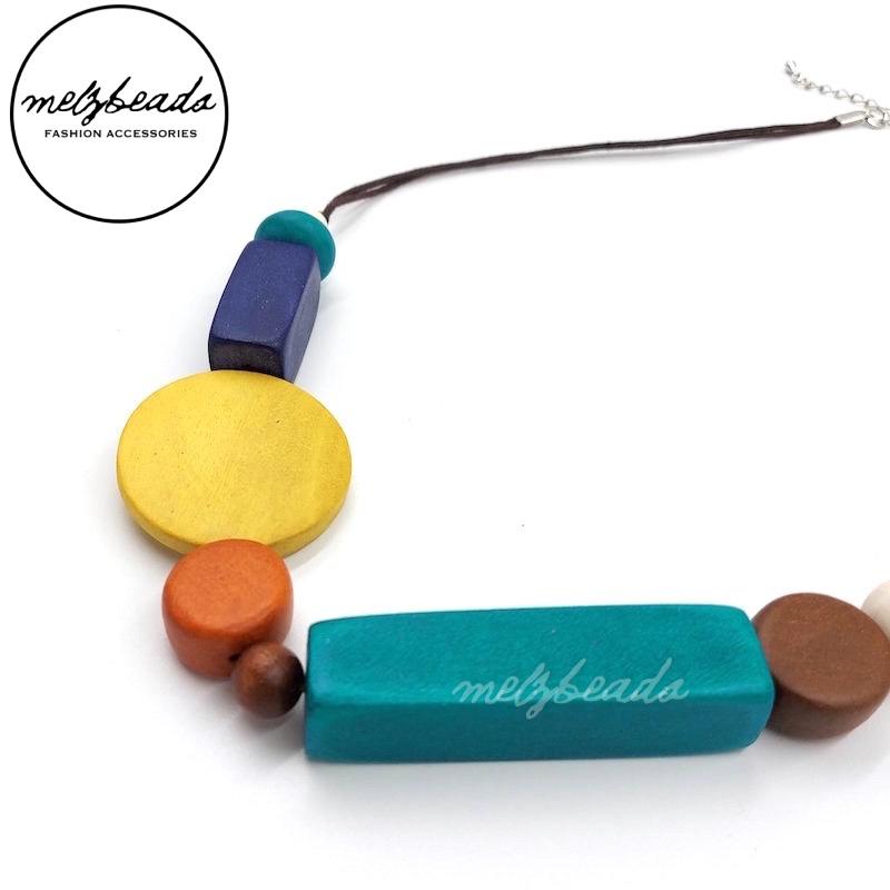 Multi Colour Geometric Wooden Necklace