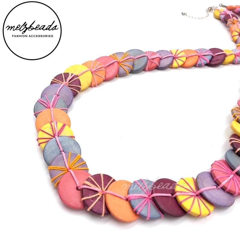 Unique Mix Colour Pastel Yarn Wooden Button Necklace