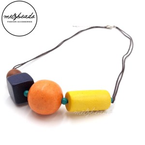Yellow Orange Purple Chunky Geometric Wooden Necklace