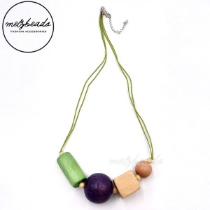 Green Natural Purple Chunky Geometric Wooden Necklace