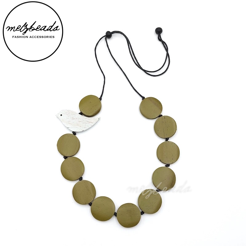 Wooden Bird Disc Necklace in Olive Green
