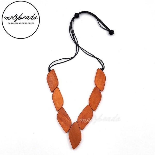 Orange Foliage Wooden Necklace
