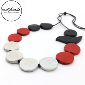 Wooden Bird Disc Necklace Black Red Natural