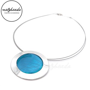 Round Turquoise Silver Pendant Necklace