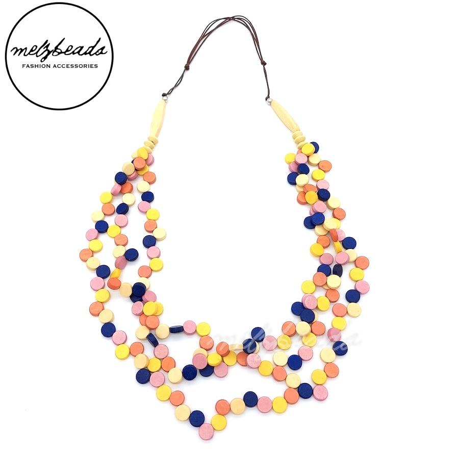 Multi Coloured Multi-Strand Wooden Confetti Necklace
