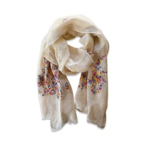 Beige Cotton Scarf with Flower Embroidery