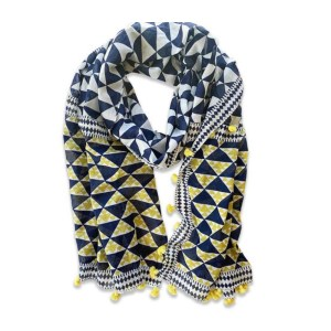 Triangle Pattern Navy Yellow Print Light Scarf