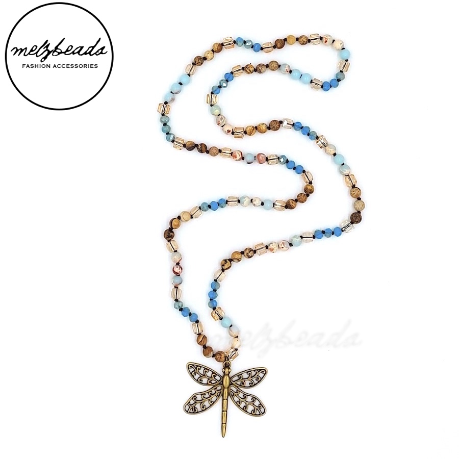 Long Boho Knotted Necklace with Dragonfly Pendant