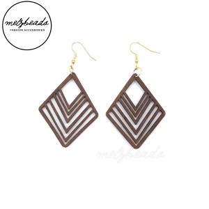 Diamond Shape Natural Wooden Earrings