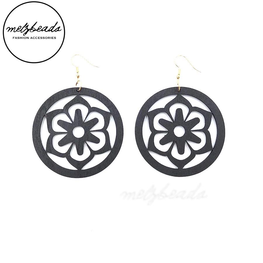 Black Large Circle Wooden Flower Earrings