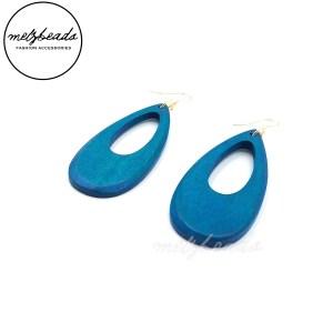 Turquoise Long Wooden Tear Drop Earrings