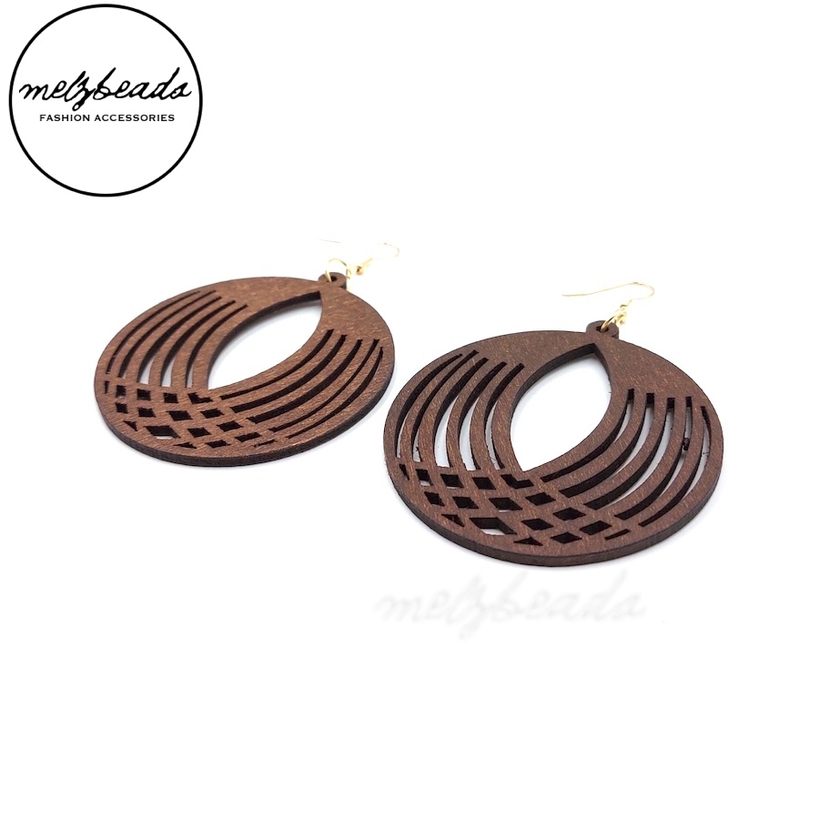Esther Large Wooden Flower Circle Earrings