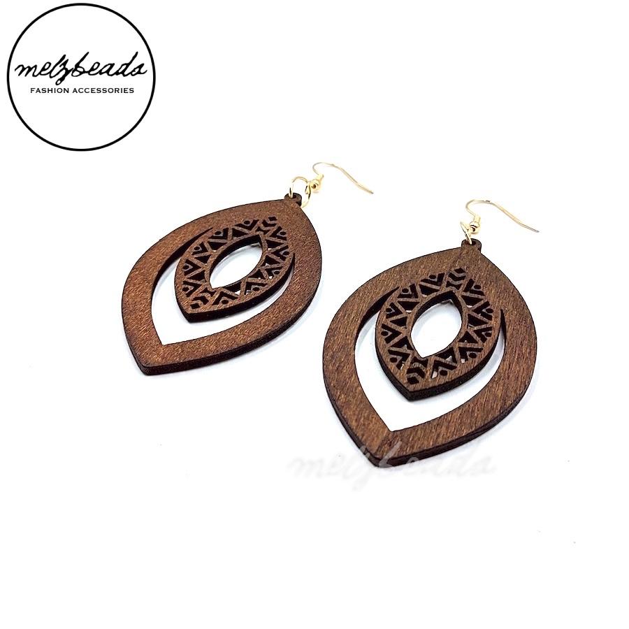 Elliptical Wooden Earrings