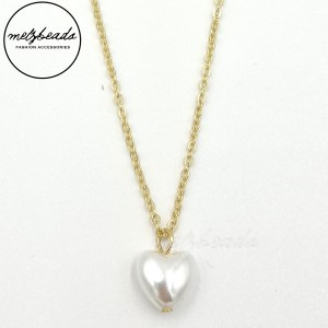 Gold Pearl Heart Pendant Necklace