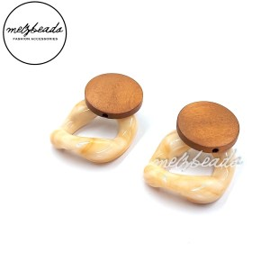 Square Resin Wooden Earrings
