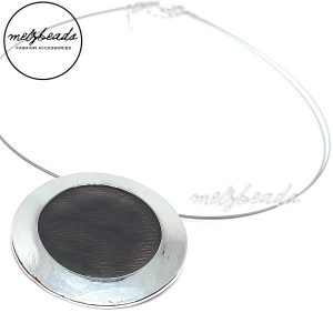 Round Black Silver Pendant Necklace