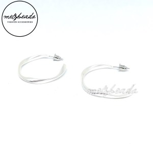 Silver Open Hoop Twist Earrings