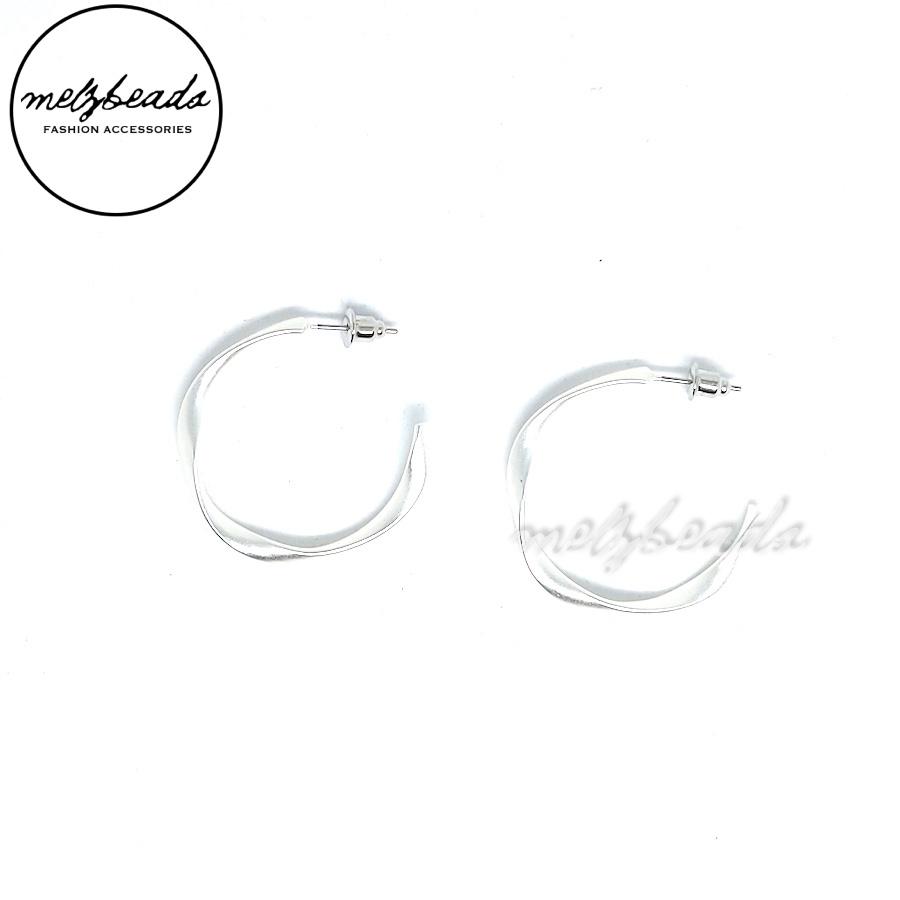 Silver Open Hoop Twist Earrings