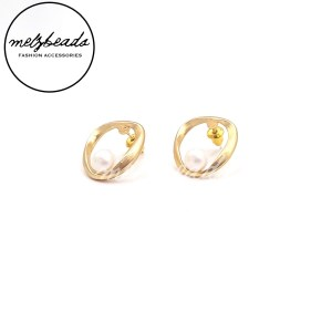 Pearl Bead Matt Gold Stud Earrings