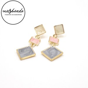 Square Pink Blue Gold Dangle Earrings