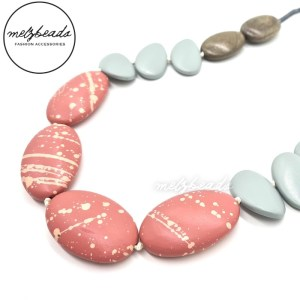 Gorgeous beaded necklace made with wooden beads in pink, grey and natural wood colour