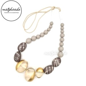 Chunky Gold Glass Wooden Bead Statement Necklace