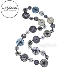 Long Grey Black Yarn Wooden Button Necklace