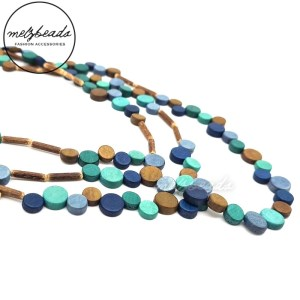 Teal Copper Tiny Coin Layered Wooden Beaded Necklace