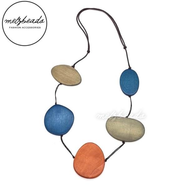 Khaki Blue Orange Large Flat Long Wooden Bead Necklace