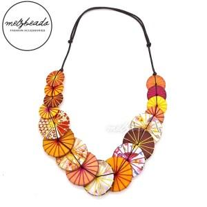 Orange Yarn Wooden Button Necklace