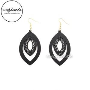 Black Elliptical Wooden Earrings