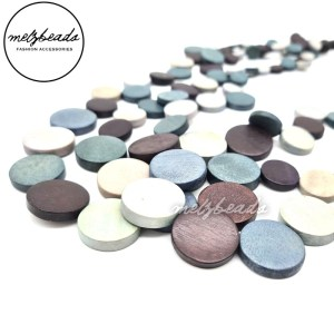 Short Grey Multi Coloured Coin Layered Wooden Beaded Necklace