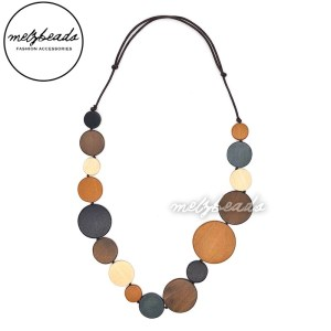 Coffee Mocha Circle Beaded Wooden Necklace