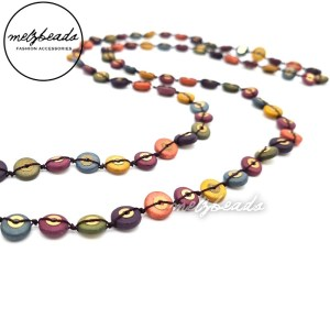 Long Colourful Wooden Button Beaded Necklace