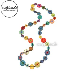 Long Bright Colourful Yarn Wooden Button Necklace
