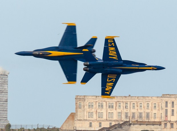 Blue Angels over San Francisco Fast Pass Over Alcatraz © 2012 Josh Litwin