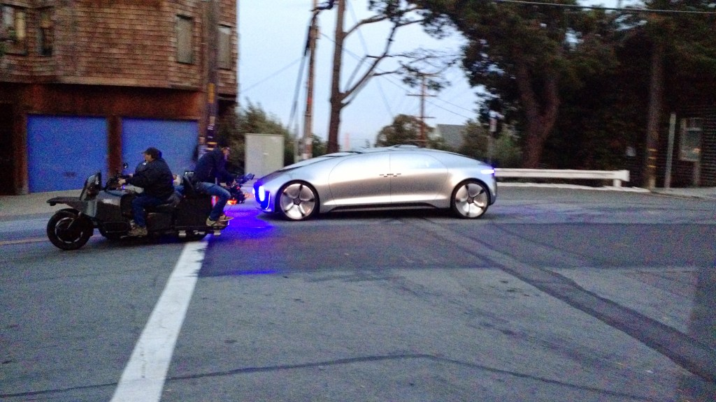 Mercedes Driverless Car – Shooting Commercial on our Front Door