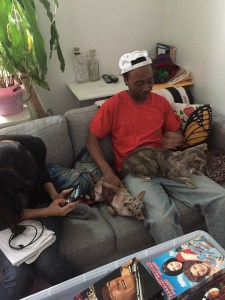 Chaz Cleveland and Christina Raia hanging out with Kitty Ostapowicz's fuzzy babies. March 2015