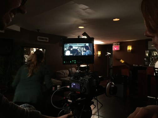 DP Peter Westervelt and AC Erin Clayton watching Lauren A. Kennedy and Sarah Schoofs on the monitor at The People's Lounge March 2015