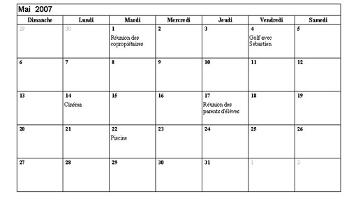 inserer des calendriers sous openoffice