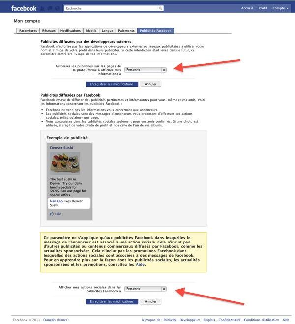 pub desactivation facebook