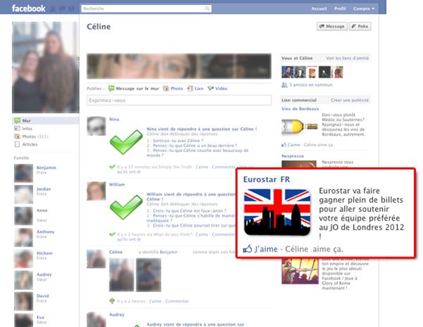 mon nom dans pub facebook