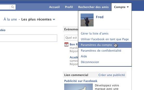 acces parametres compte facebook