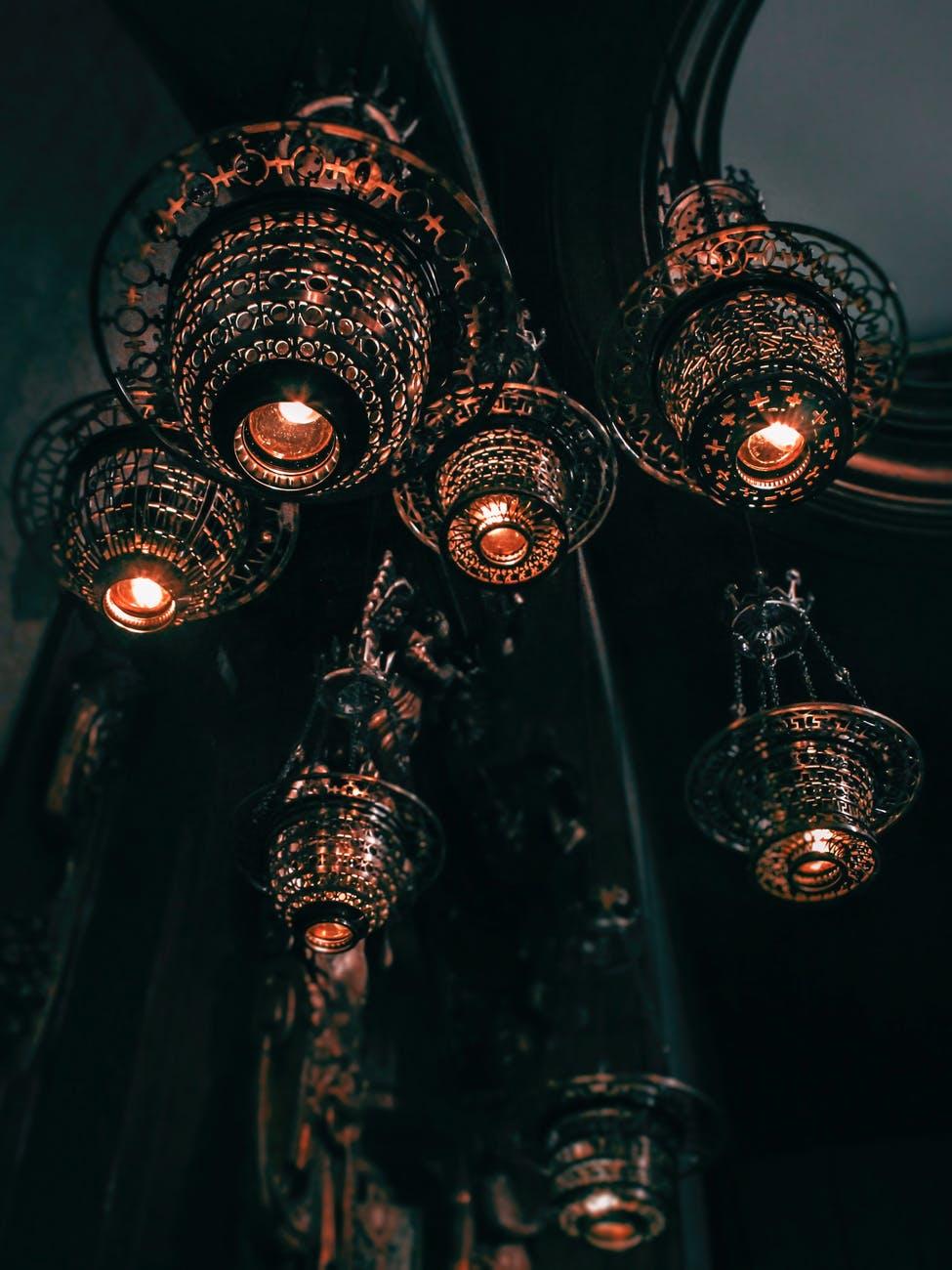 low angle photo of pendant lights