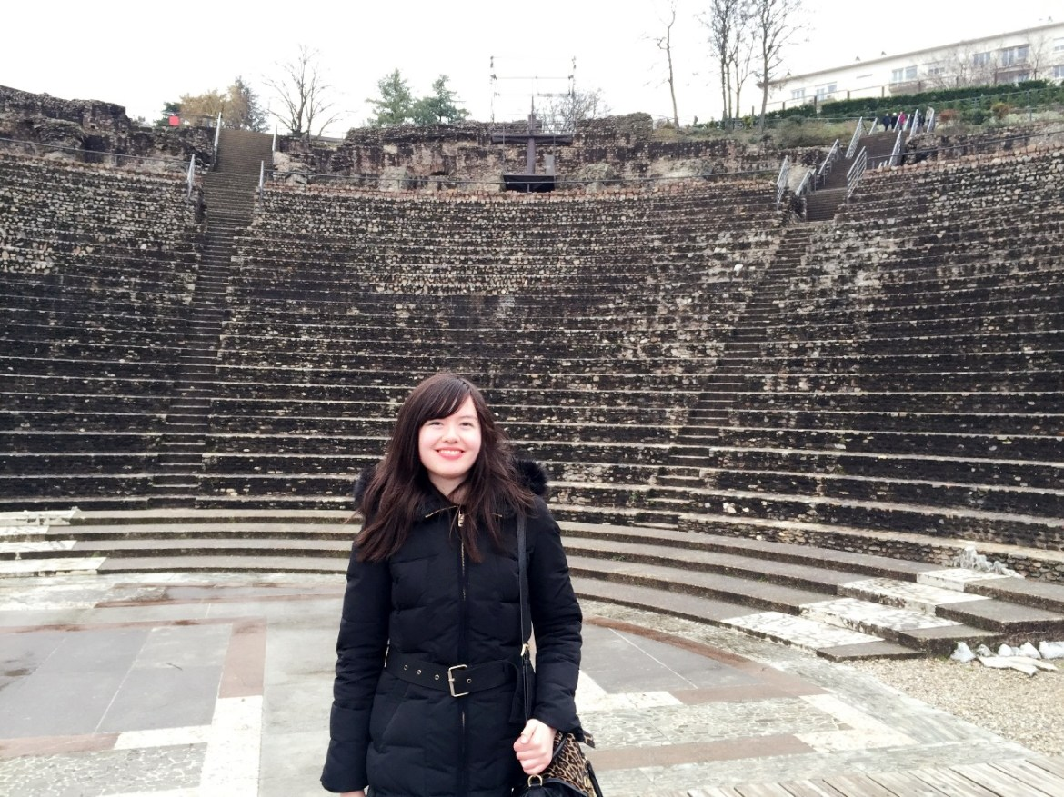 Photo of a girl at the roman ruins in Lyon