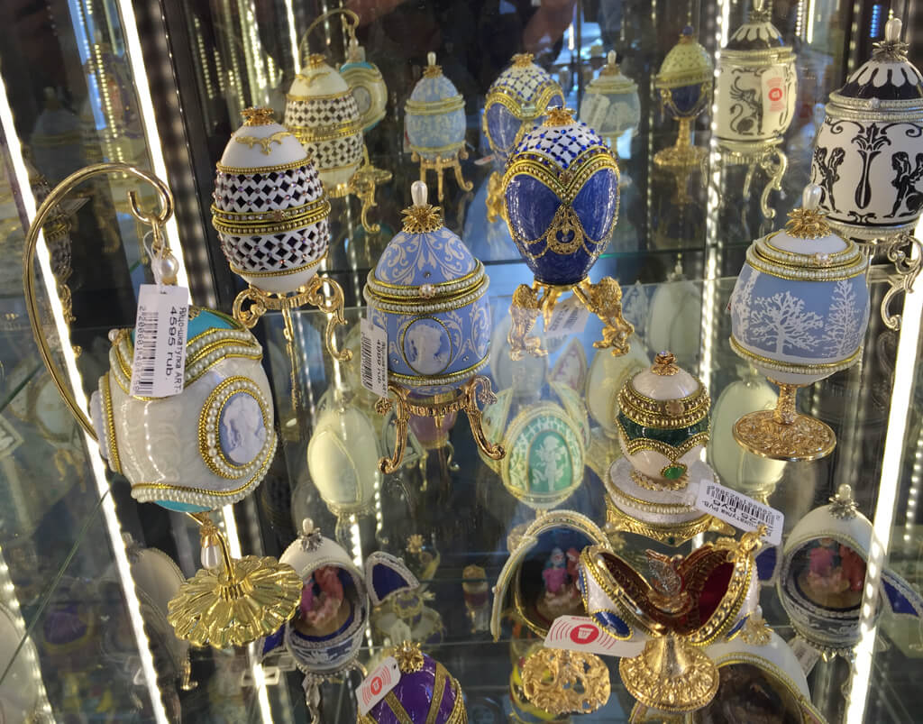 Faberge Eggs in a gift shop on the Nevsky Prospekt
