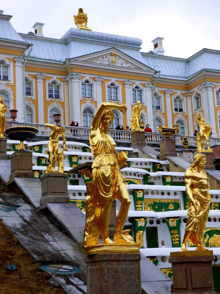 Gold statues at Peterhof Palace